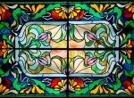vitrail en plafonnier style art Nouveau